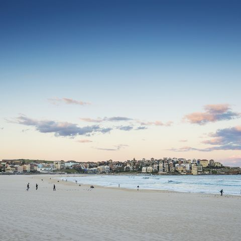 bondi beach view at sunset dusk near sydney australia