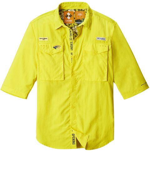Clothing, Sleeve, Yellow, Outerwear, Raincoat, Collar, Workwear, Jacket, Button, Rain suit,