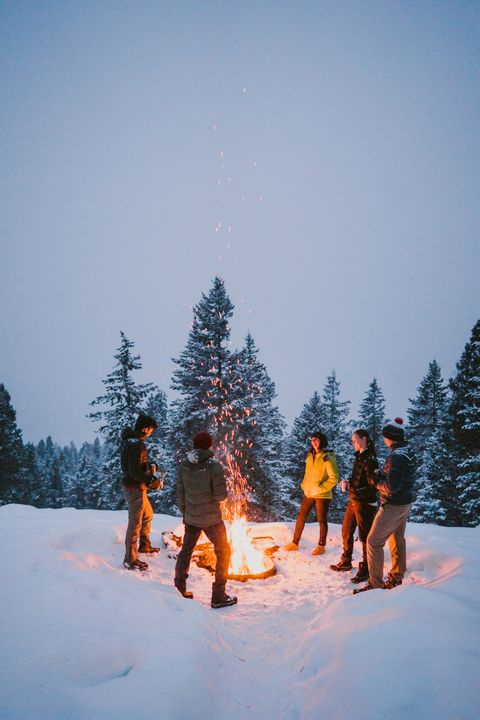 a group of friends stand around a campfire with snowy pine tree