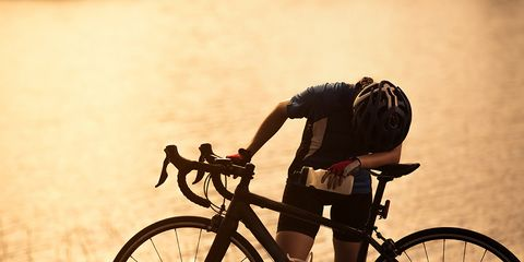 cyclist exhausted bonking on a ride