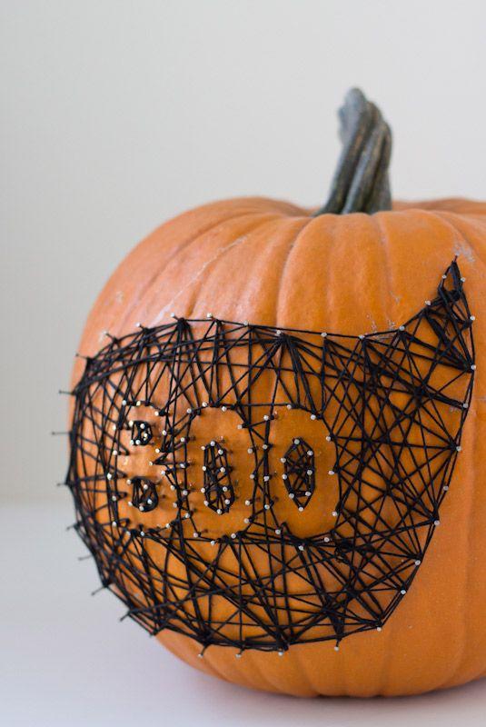 boo string art pumpkin no carve