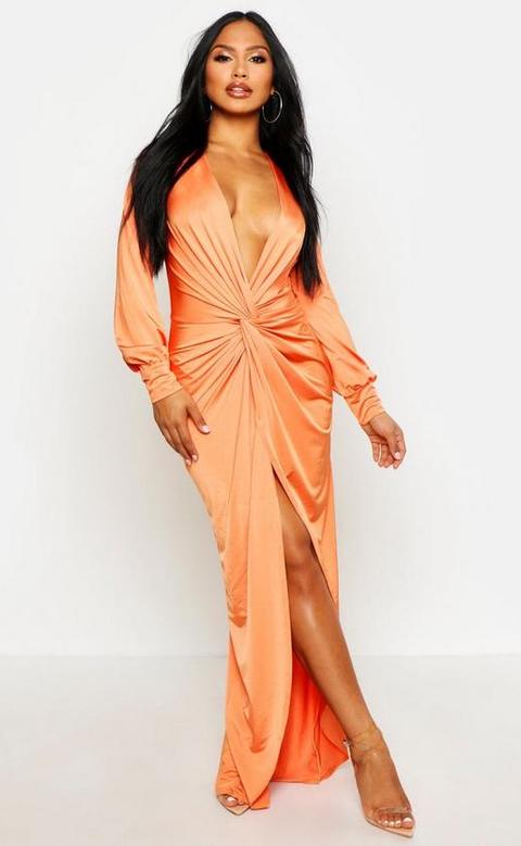 Clothing, Fashion model, Dress, Shoulder, Orange, Formal wear, Peach, Gown, Neck, Fashion,