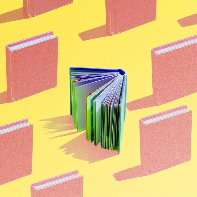 coral books blue and green book on yellow background