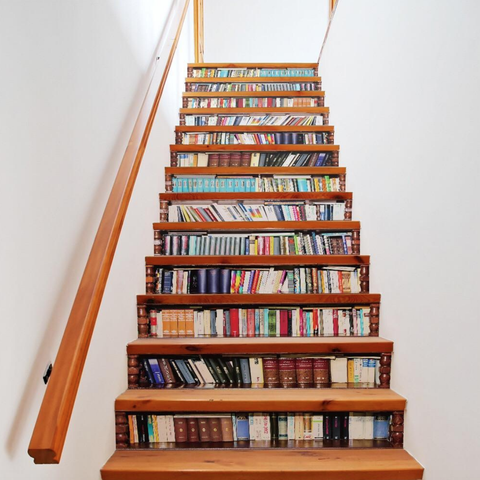 Bookcase Staircase Decals Are Exactly What Your Boring Steps Are Missing