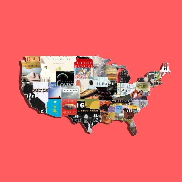 map of united states with book covers