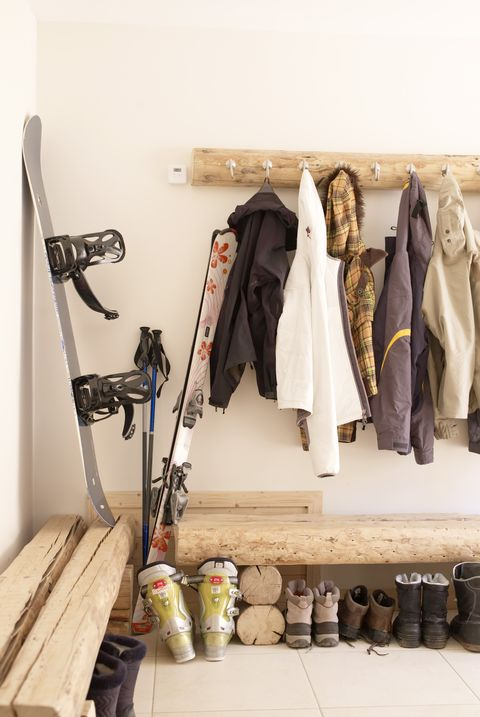 Boots and coats in chalet cloakroom
