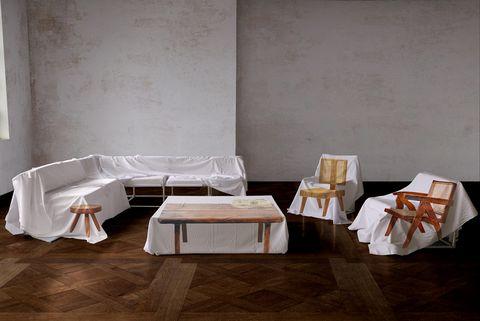 Furniture, Floor, Room, Table, Wall, Flooring, Interior design, Material property, Laminate flooring, Architecture,