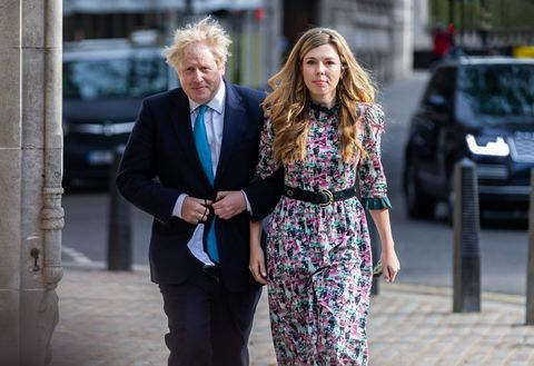 prime minister boris johnson and his fianc carrie symonds cast their votes in the loc council and mayoral elections at on 6th may 2021 in london, uk photo bytejas sandhumi newsnurphoto via getty images