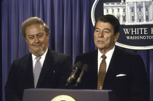 us president ronald w reagan speaking at a press conference while standing with his supreme court justice nominee robert h bork  photo by diana walkerthe life images collection via getty images
