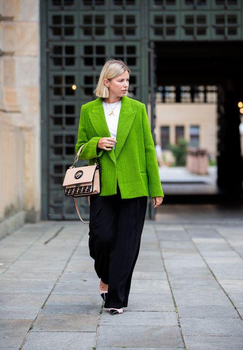 Green, Street fashion, Clothing, Fashion, Outerwear, Snapshot, Yellow, Coat, Blazer, Footwear,