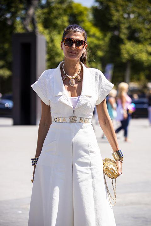 White, Clothing, Street fashion, Fashion, Eyewear, Sunglasses, Dress, Shoulder, Beauty, Fashion model,