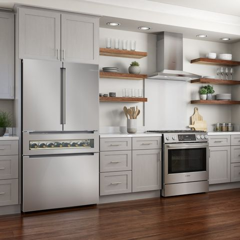 Countertop, Cabinetry, Furniture, Kitchen, Room, Refrigerator, Property, Major appliance, Interior design, Drawer,