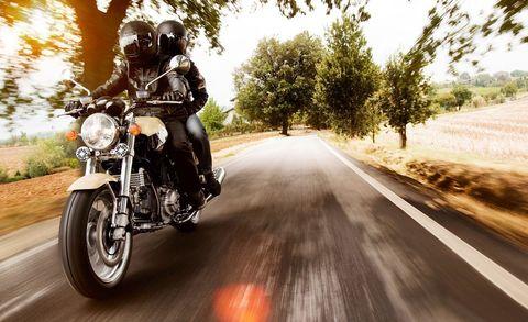 Land vehicle, Motorcycle, Vehicle, Motor vehicle, Motorcycling, Cruiser, Mode of transport, Road, Car, Tree,