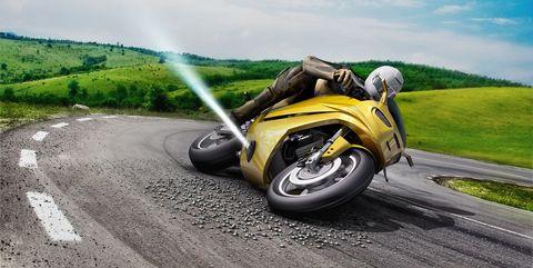 Land vehicle, Motorcycle, Vehicle, Motor vehicle, Asphalt, Road, Mode of transport, Yellow, Automotive tire, Motorcycling,