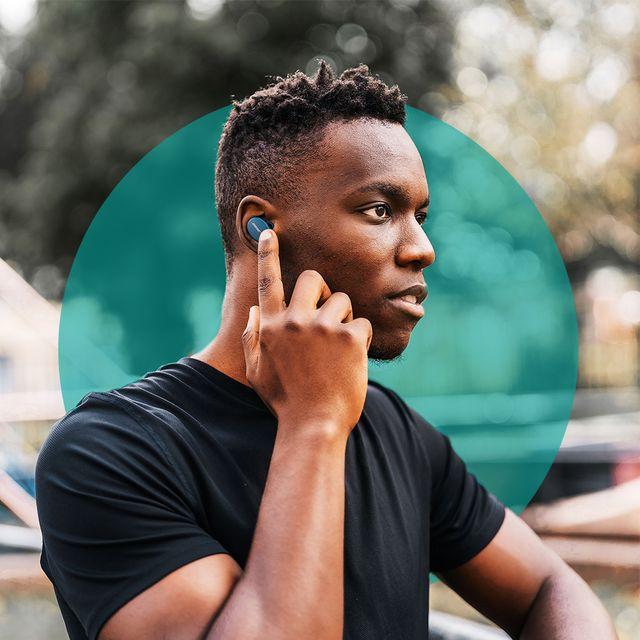 man wearing bose sport headphones