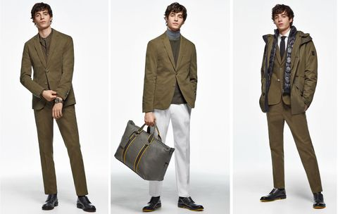 Clothing, Suit, Outerwear, Blazer, Khaki, Fashion, Formal wear, Footwear, Jacket, Collar,
