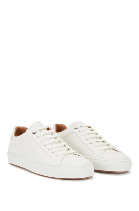 burnished leather sneakers made in italy by boss