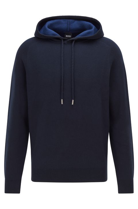boss cotton and wool hooded jumper with contrast color interior
