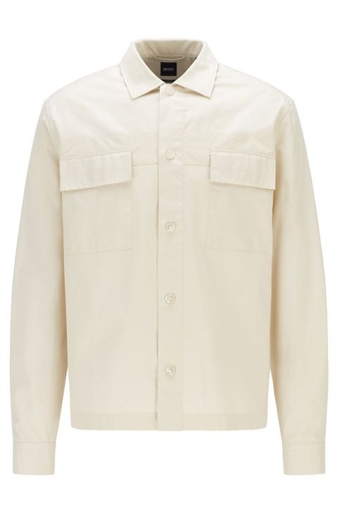 relaxed fit cotton twill overshirt by boss