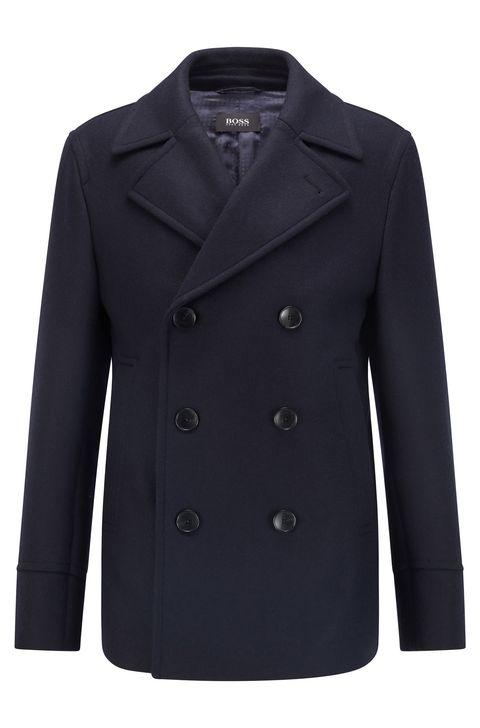 boss slim fit wool blend sailor pea coat
