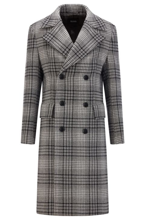 boss houndstooth check wool blend double breasted coat