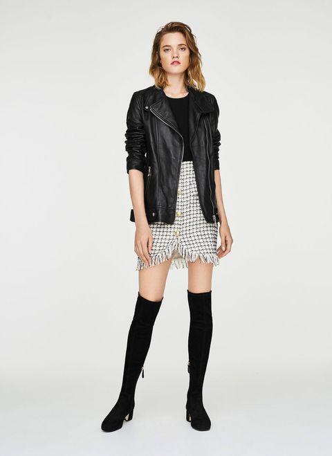 Clothing, Fashion model, Black, Shoulder, Leather, Fashion, Jacket, Knee, Joint, Outerwear,