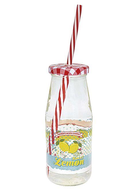 Botella con pajita para zumos