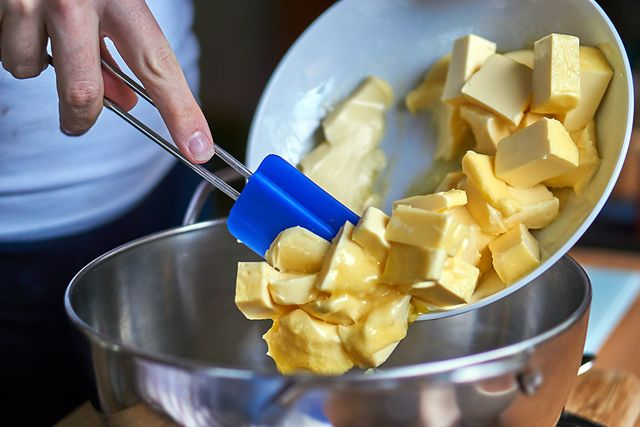 put the butter cubes in a mixing bowl