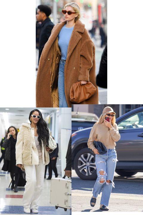 Clothing, Street fashion, Jeans, Fashion, Fur, Outerwear, Coat, Footwear, Snapshot, Jacket,