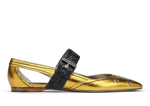 Footwear, Yellow, Shoe, Sandal, Beige, Metal, Slingback,