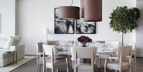 Dining room, Room, Furniture, Interior design, Lighting, Table, Floor, Wall, Light fixture, Ceiling,