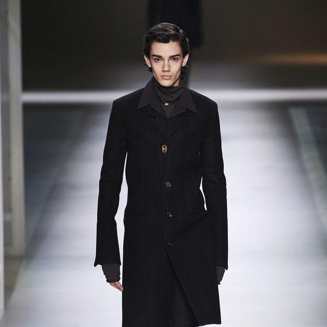 Fashion model, Fashion show, Fashion, Runway, Clothing, Overcoat, Coat, Human, Outerwear, Model,