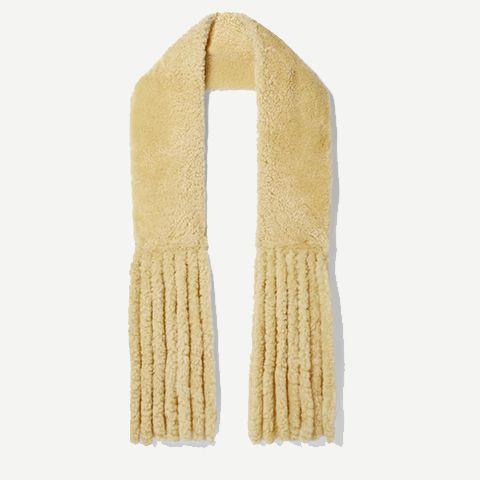 oversized fringed shearling scarf