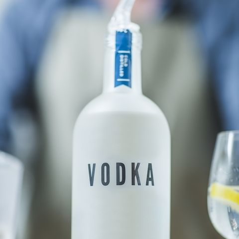 Bottle of vodka in distillery