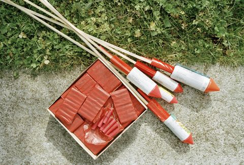 Bottle rockets and fireworks on ground