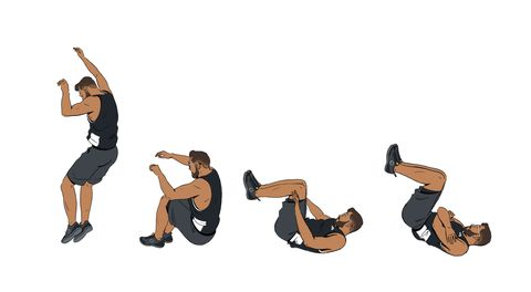 sequential illos of man falling to land on feet, roll onto back, tuck arms and chin