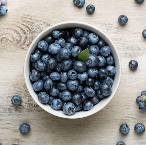 Bowl of blueberries on table