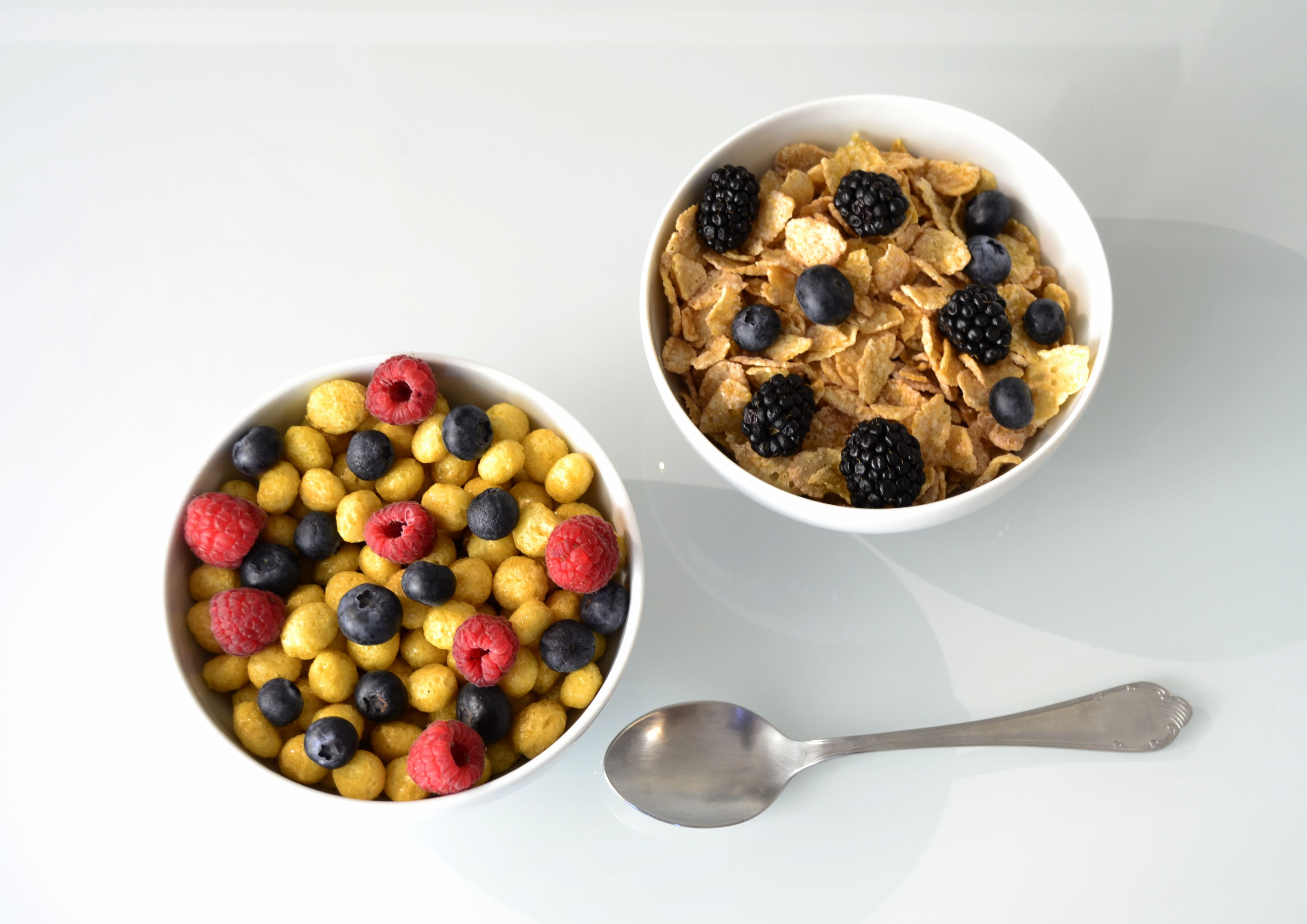 Bowl of cereals with berries