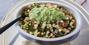 A bowl of food from Chipotle in Miami.
