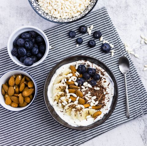 bowl of fresh muesli, blueberries and almonds seen from above