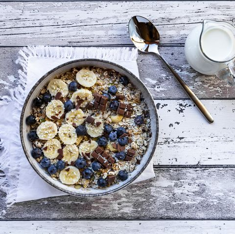 Bowl of granola with banana slices, blueberries and chocolate