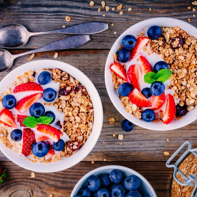 healthy breakfast bowl of granola with yogurt and berries