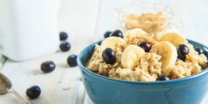 Bowl Of Hot Oatmeal With Blueberries