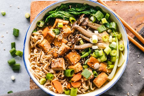 Bowl of vegan miso ramen with tofu and mushrooms