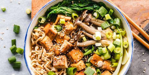bowl of vegan miso ramen with tofu and mushrooms