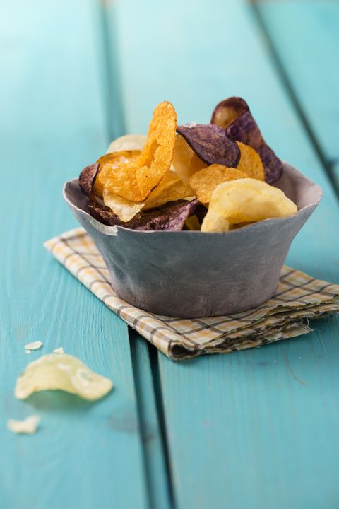 Bowl with different sorts of potato chips