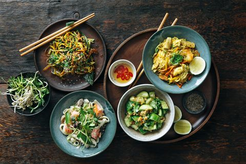 bowls with japanese food