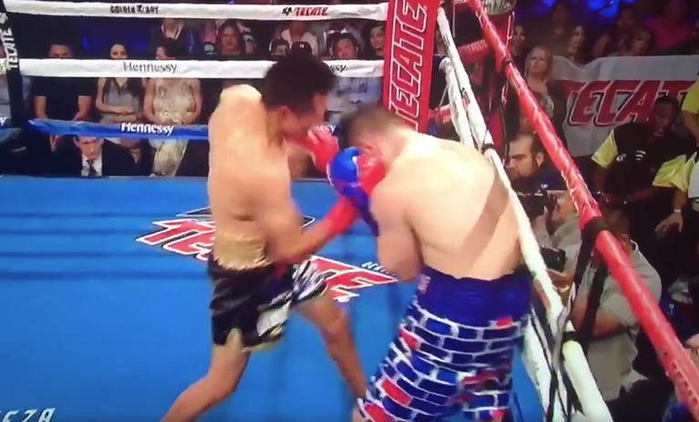 an american boxer got his ass kicked last night while wearing border