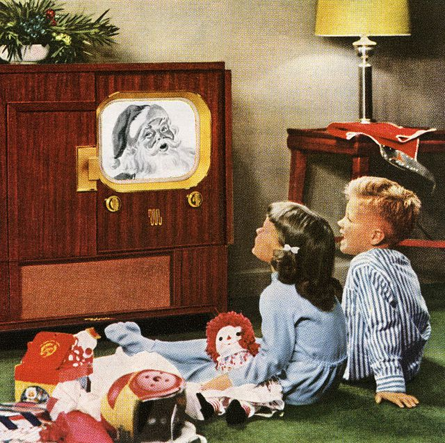 children watching television in vintage holiday ad