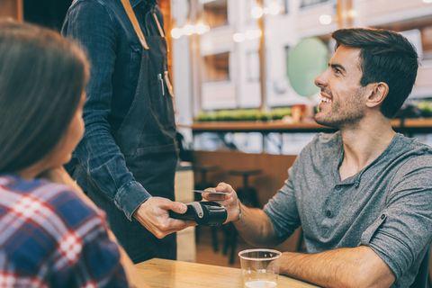 Boyfriend pays the bill via credit card